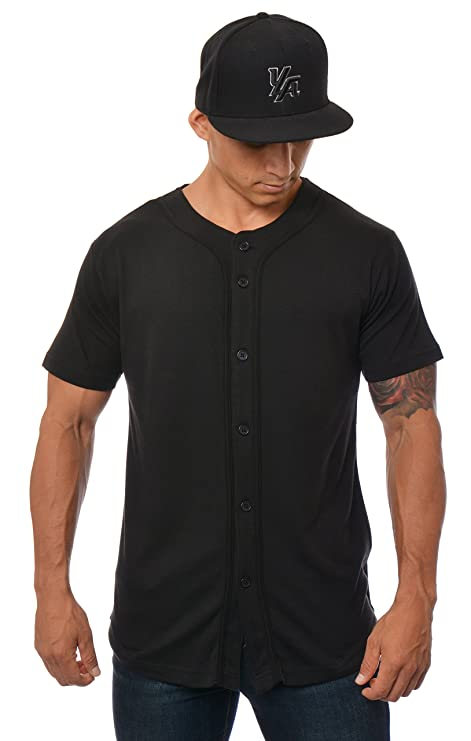 9061c4b5 YoungLA Baseball Jersey Plain Shirts for Men Button Down Sports Tee Made  w/Soft Cotton