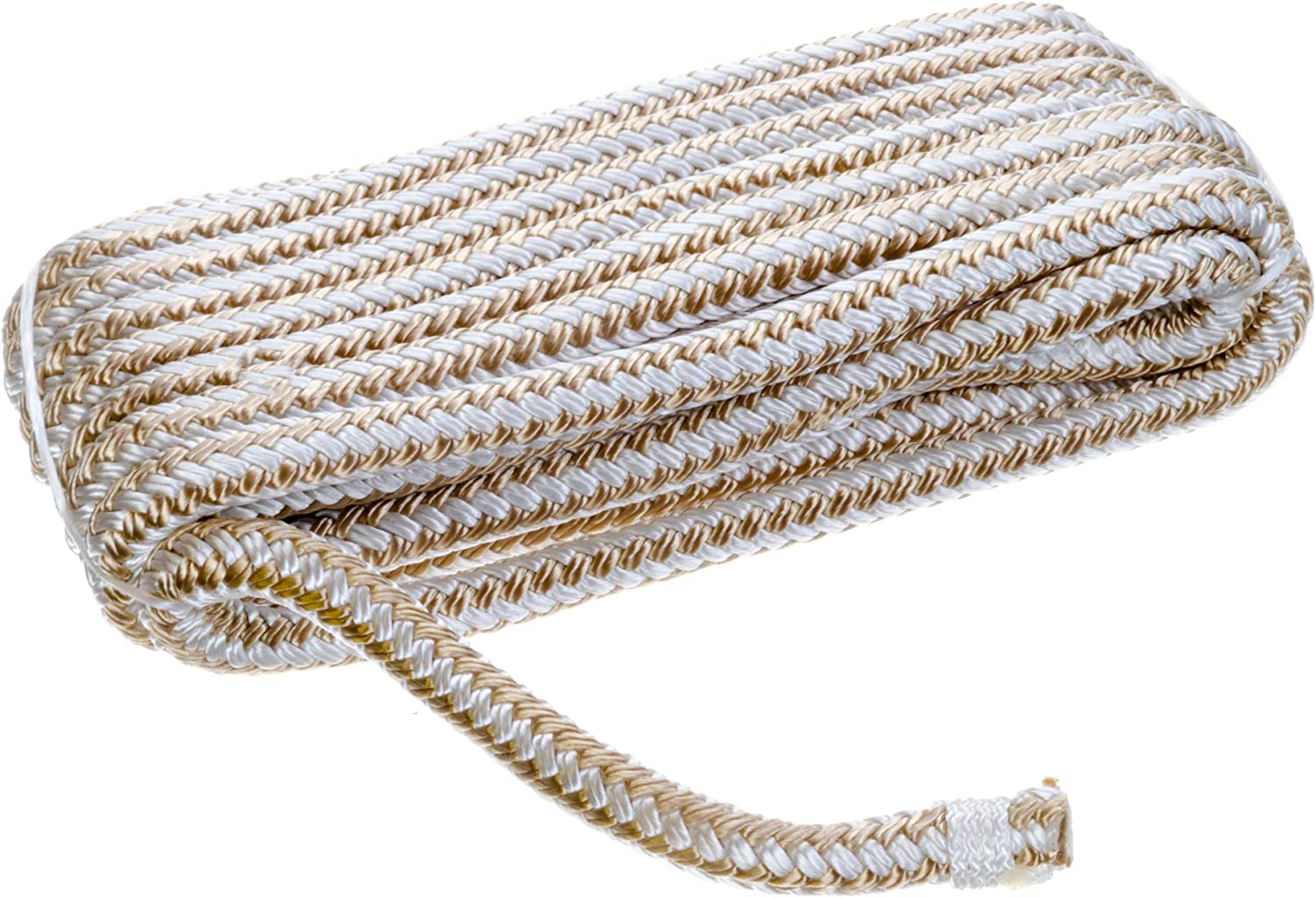 SEACHOICE Double-Braid Nylon Dock Line 3//8 x 15 40011 Gold//White