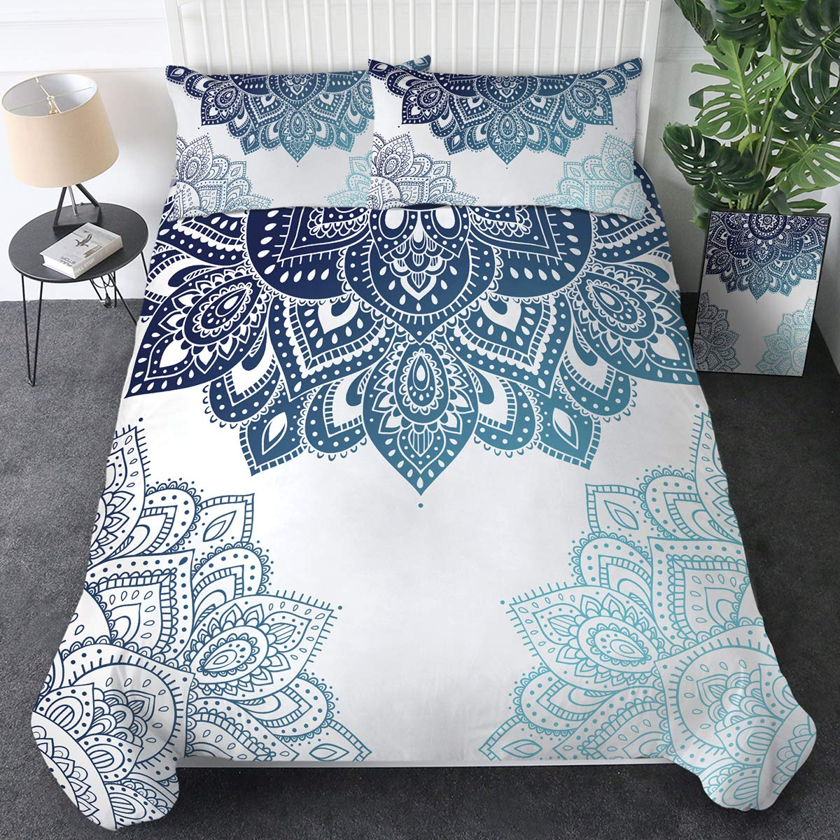 Sleepwish Blue White Floral Mandala Bedding Sets Bohemian Geometric Bedspread 3 Pieces Boho Chic Duvet Cover with Zipper Closure and Corner Ties (Queen)