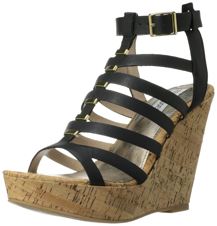 Steve Madden Women's Indyanna Wedge Sandal B00EA2IP9W 9.5 B(M) US|Black