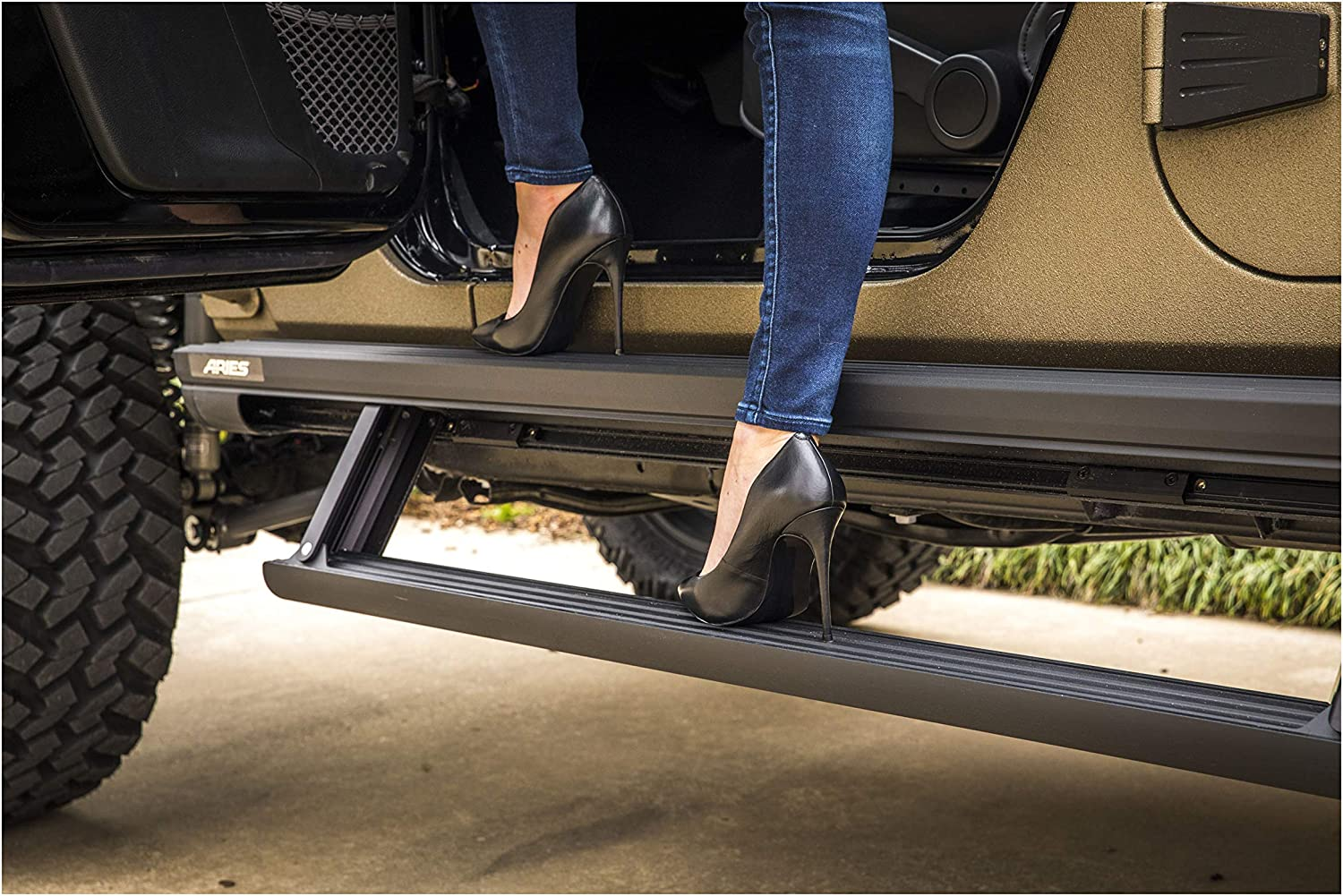 Electric Side Steps Black 65-Inch Fits Jeep Wrangler JL ARIES 3036571 ActionTrac Truck Powered Running Boards with Retractable