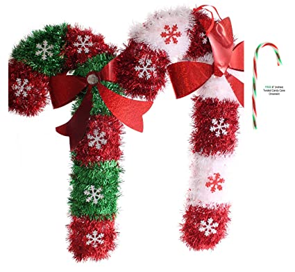 set of 2 potomac banks christmas tinsel candy cane decoration 15 in