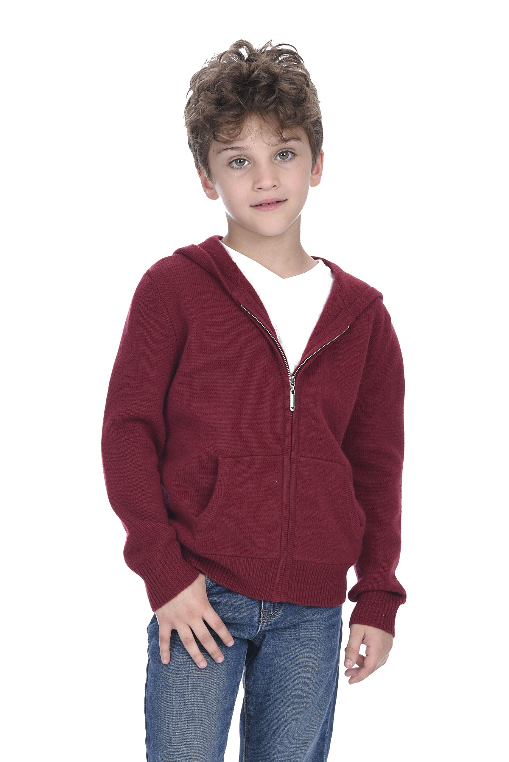 State Cashmere Unisex Kids Zip Up Hoodie Cashmere Merino Wool Long Sleeve Cardigan Sweater with Kangaroo Pocket (M(7-8 Years), Burgundy) by State Cashmere