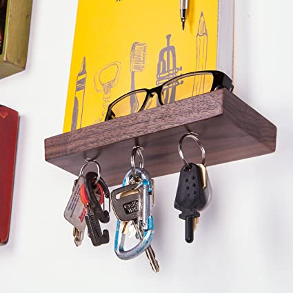 Rackless - Floating, Wall Mounted Shelf and Magnetic Key Rack, In 8 Solid
