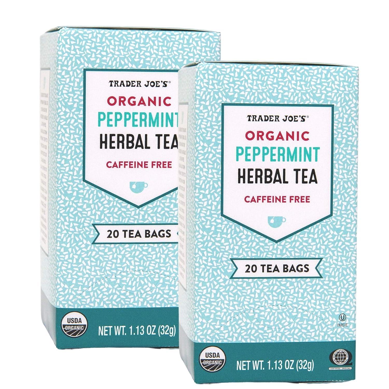 Trader Joes Peppermint Tea Organic -- 40 Tea Bags -- Herbal Caffiene Free (2 Pack)