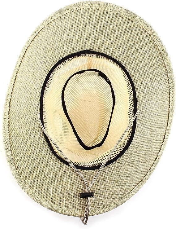 Men Summer Linen Wide Brim Western Style Beach Mesh Cap Net Sunhat Cowboy Hat