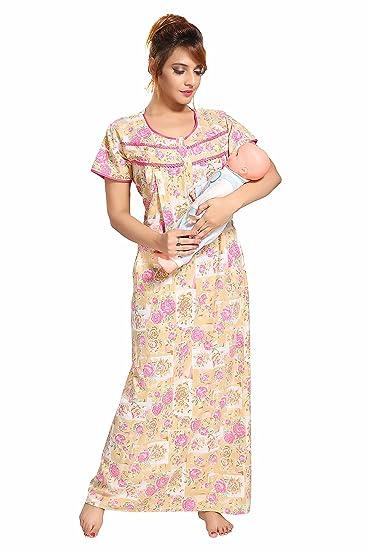 571aeb2a2aa01 Soulemo Womens Feeding Nighty/Maternity Dress with.Soft P.C Fabric ...