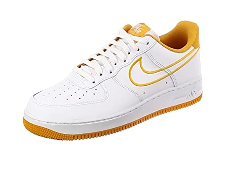 4a66cddc176b1 NIKE Men's Air Force 1 '07 Leather Shoe White/Yellow Ochre, 8.5 ...