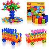 QuadPro Brain Flakes 570 Piece with 4 Set Wheels Plastic Discs Snowflake Building Blocks Set Kids Preschool Toys Educational Stem Toys for Boy and Girls