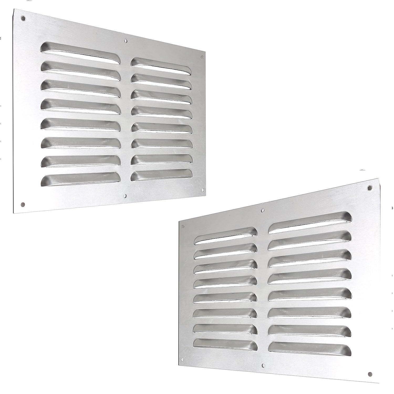 2x 9' x 6' Louvre Air Vent Covers - Satin Aluminium/Metal Chrome Effect Wall Grilles White Hinge