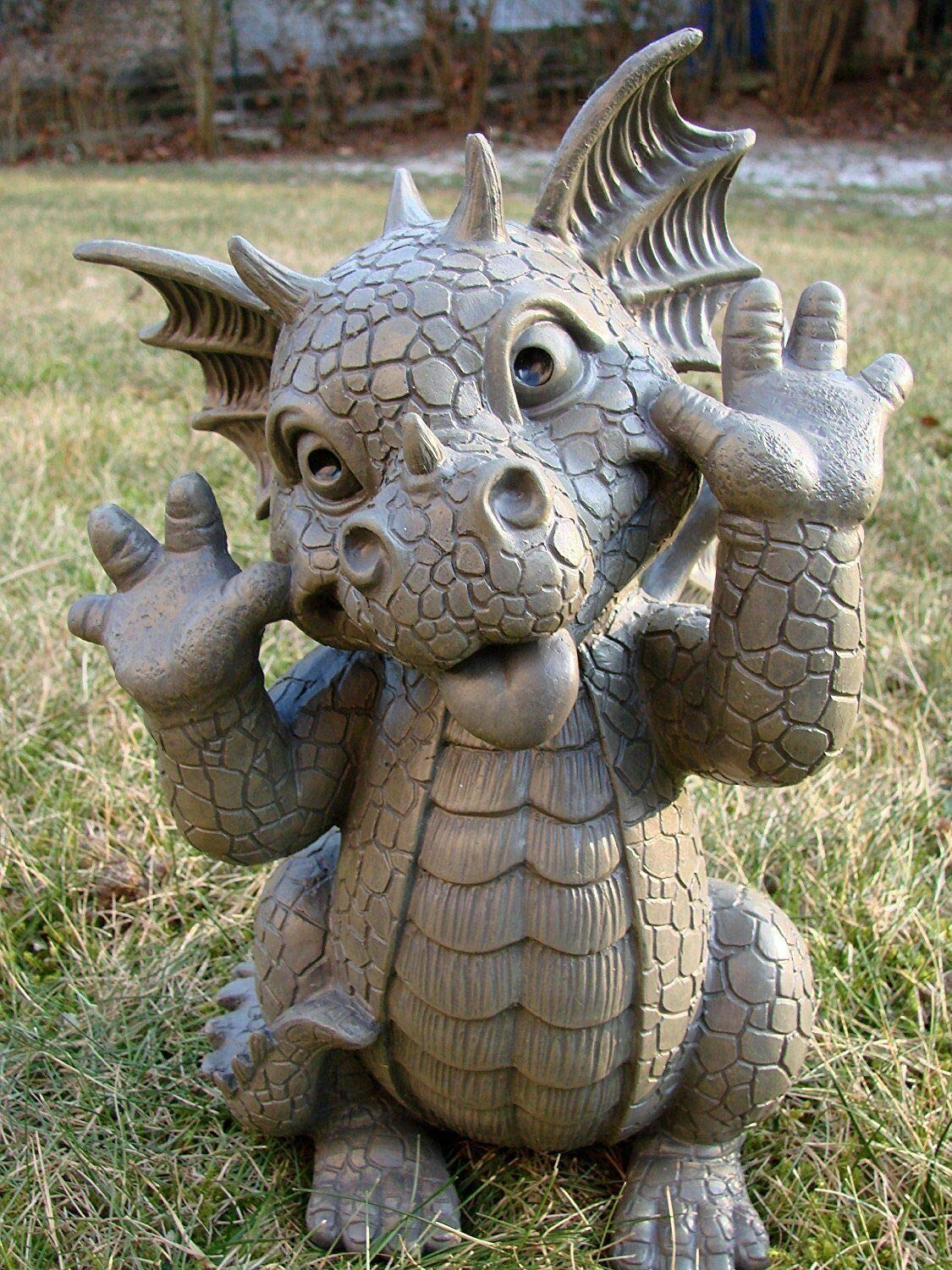 Pacific Giftware Garden Dragon Taunting Dragon Garden Display Decorative Accent Sculpture Stone Finish 10 Inch Tall