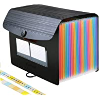 Accordian File Organizer 24 Pockets, A4/Letter Size Expanding File Folders with 30 Indentations Expandable Lid,Portable Accordion Filing Box/Desktop Paper Bill Receipt Document Storage Folders Plastic