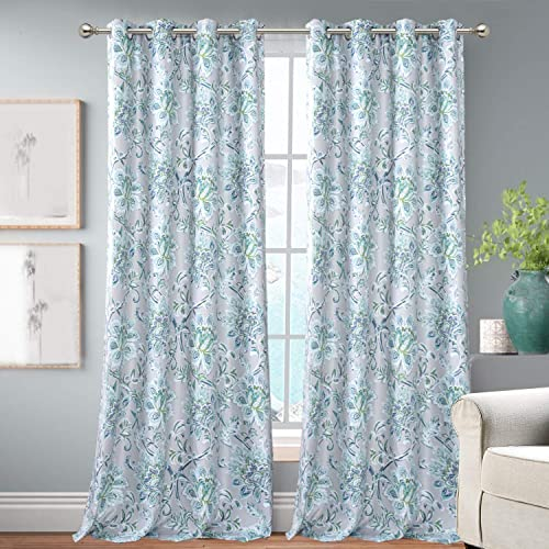 DriftAway Alyssa Jacobean Elegant Floral Leaves Pattern Energy Saving Thermal Insulated Blackout Lined Window Curtain for Living Room Bedroom 2 Panels 50 Inch by 84 Inch Gray