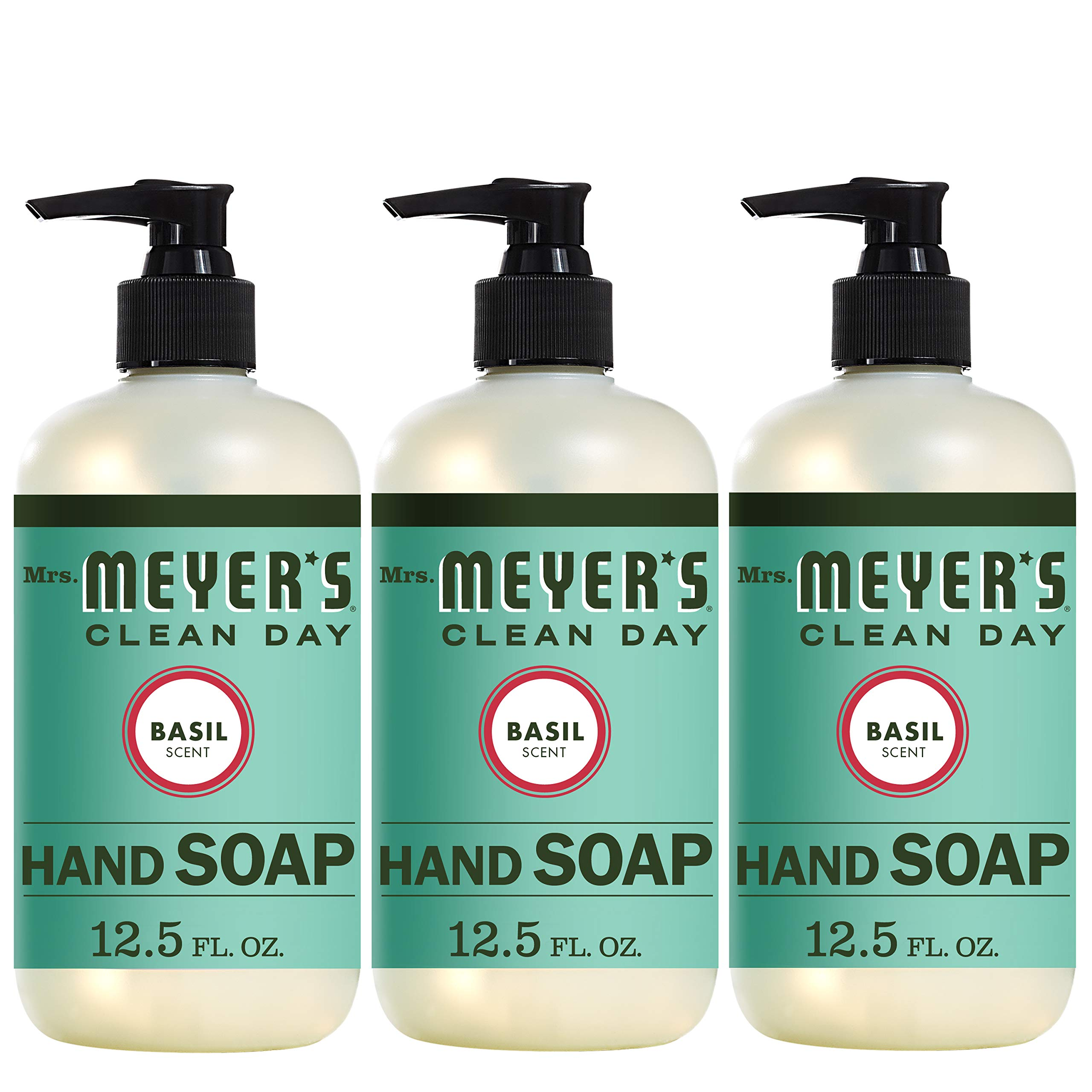 Mrs. Meyer's Clean Day Liquid Hand Soap, Basil Scent, 12.5 Fl Oz, Pack of 3