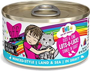 Weruva B.F.F. Omg - Best Feline Friend Oh My Gravy! Grain-Free Wet Cat Food Cans, Lots-O-Luck! Duck & Tuna, 2.8-Ounce Can (Pack of 12)