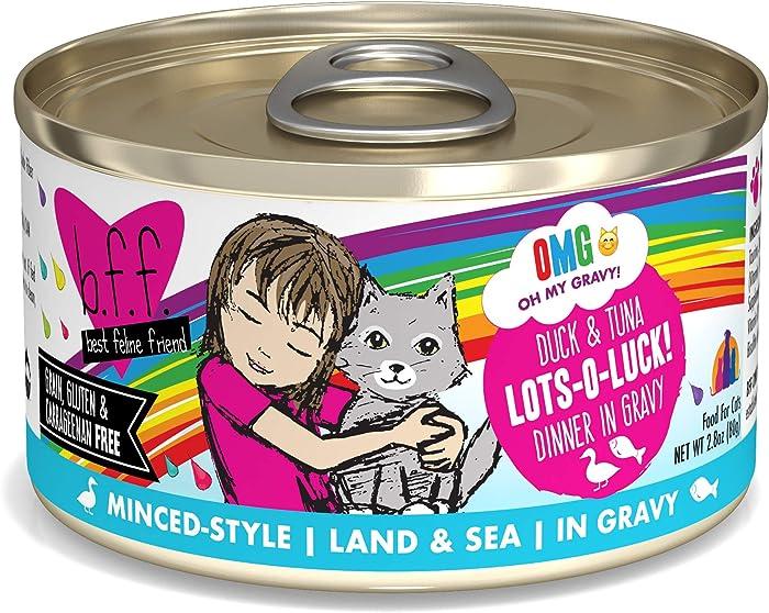 Weruva B.F.F. Omg - Best Feline Friend Oh My Gravy! Grain-Free Wet Cat Food Cans, Lots-O-Luck! Duck & Tuna, 2.8-Ounce Can (Pack of 12)