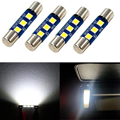 Alla Lighting 4pcs Extremely Super Bright 6000K Xenon White High Power 3030 SMD 29mm 6614 6614F 6641 6612F F30-WHP TS-14V1CP LED Replacement Bulbs For Car SUV Truck Sunvisor Flips Vanity Mirror Lights: Automotive