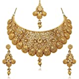 Zeneme Wedding Collection Gold Plated Choker Necklace, Drop Earring & Mangtika for Women/girls