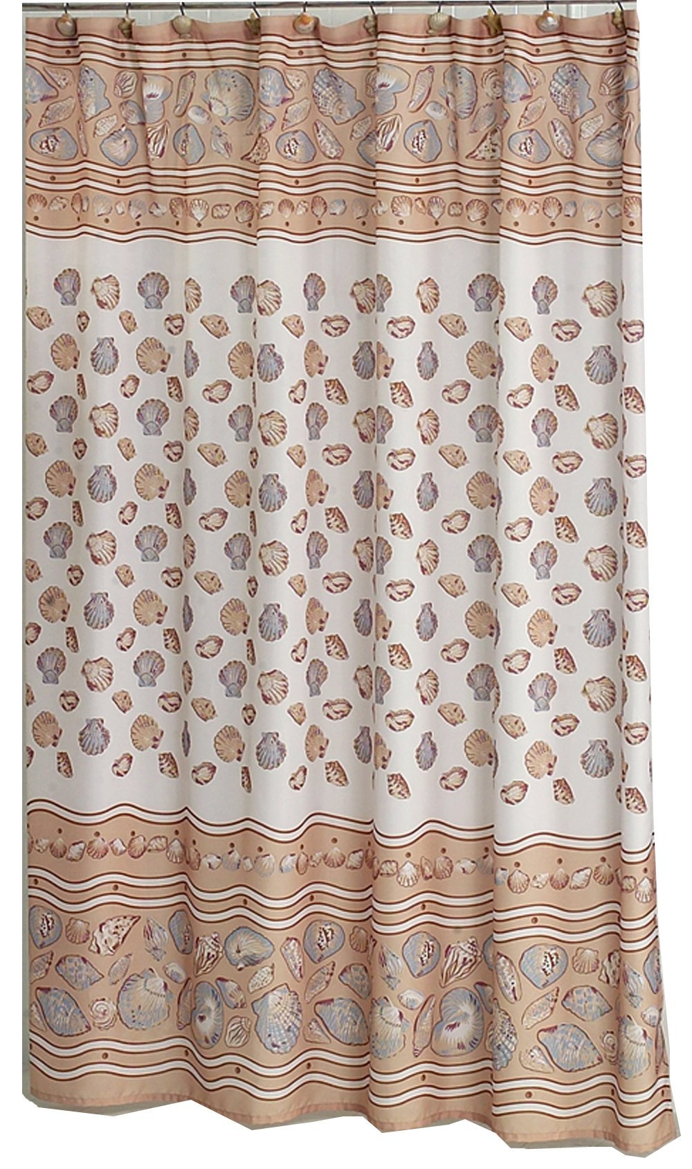 Carnation Home Fashions 70'' X 72'' Fabric Shower Curtain, South Beach Ivory