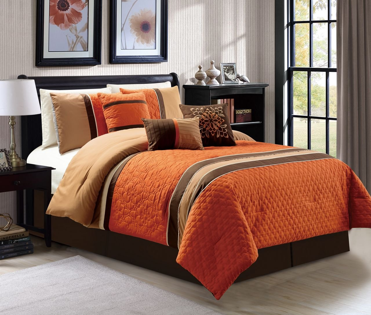 7 pc cal king size quartrefoil quilted orange taupe - King size bedroom comforter sets ...
