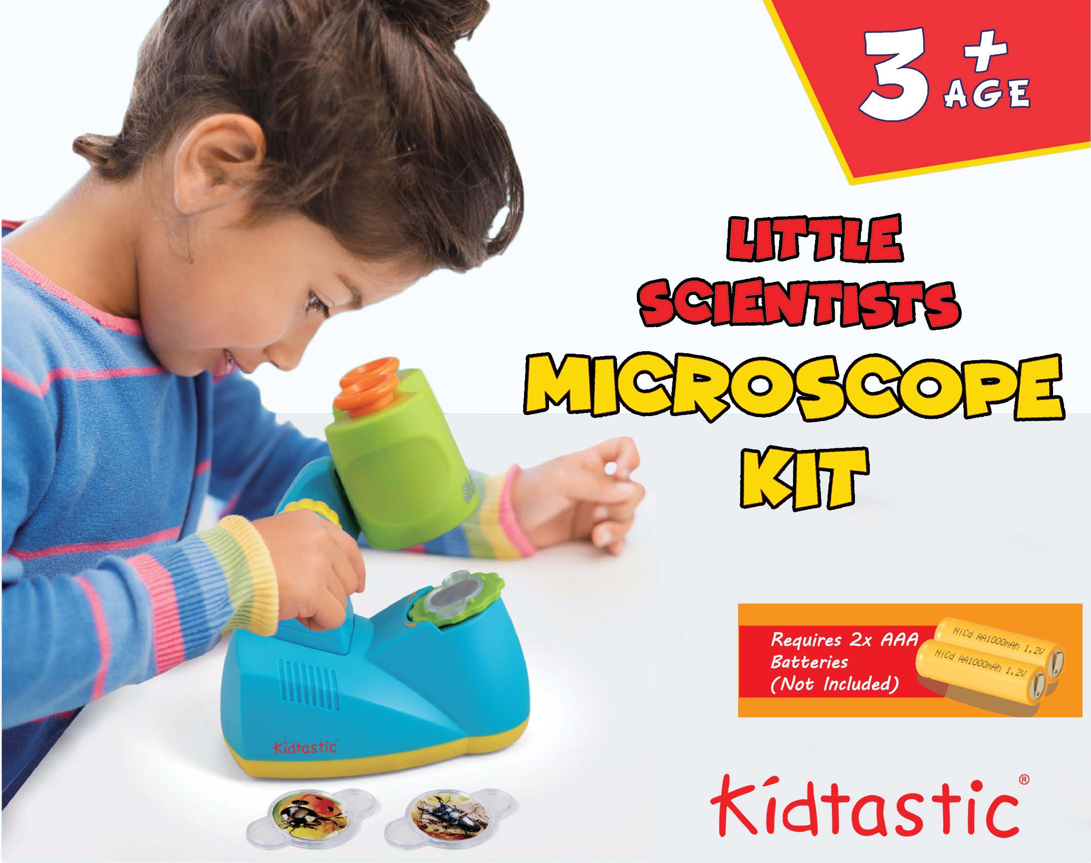 Kidtastic Microscope Science Kit for Kids - Fun Learning Toys for Preschoolers - STEM Toy for 3 Year olds - with 12 Slides Animals & Nature, 8X Zoom, LED Light - for Ages 3, 4, 5, 6 and up by Kidtastic (Image #2)