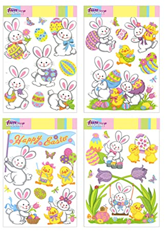Large Sheet Easter Window Stickers Decorations Amazoncouk Toys - Window stickers amazon uk