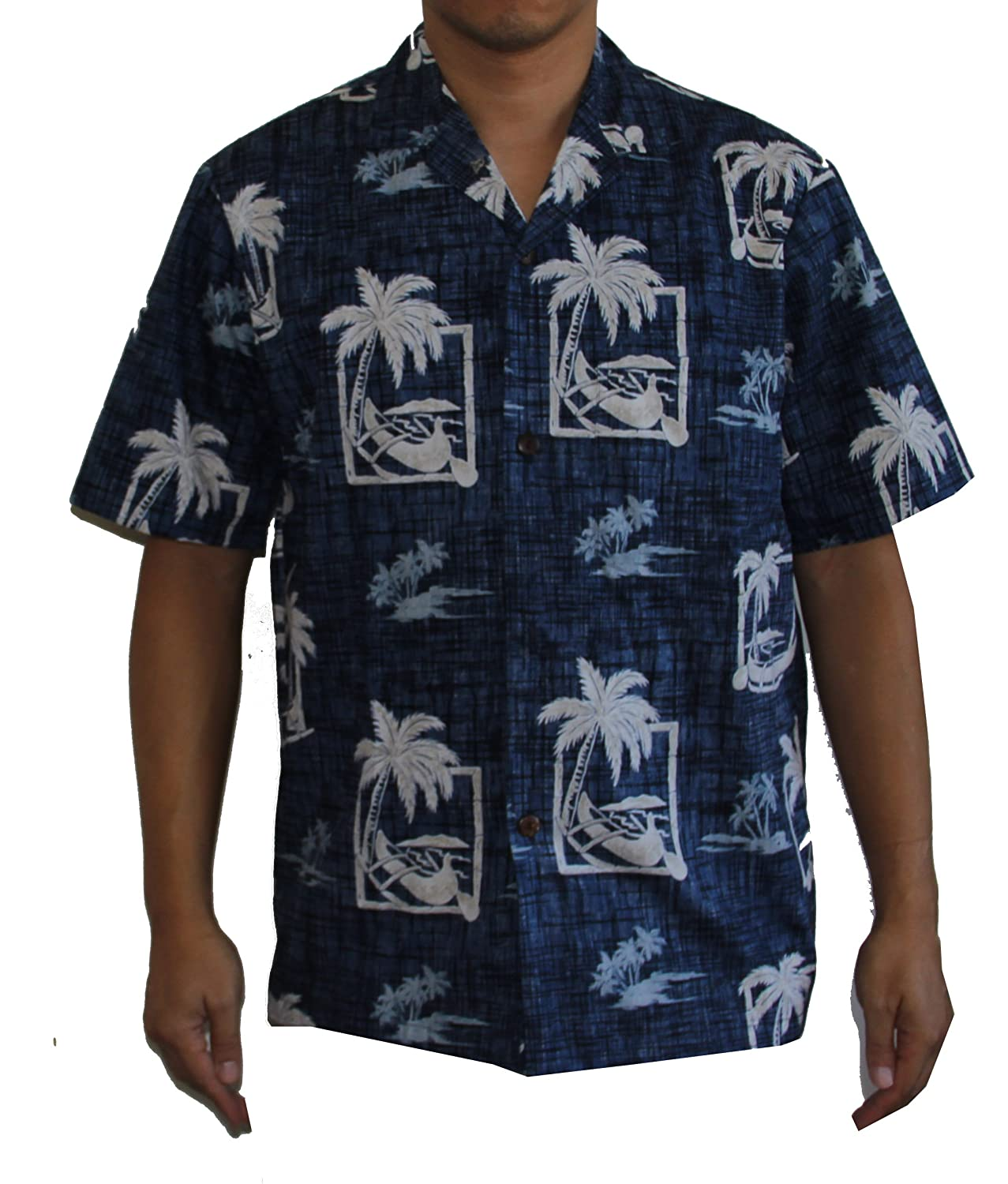 Alohawears Clothing Company Mens Canoe Palm Tree Hawaiian Aloha Shirt
