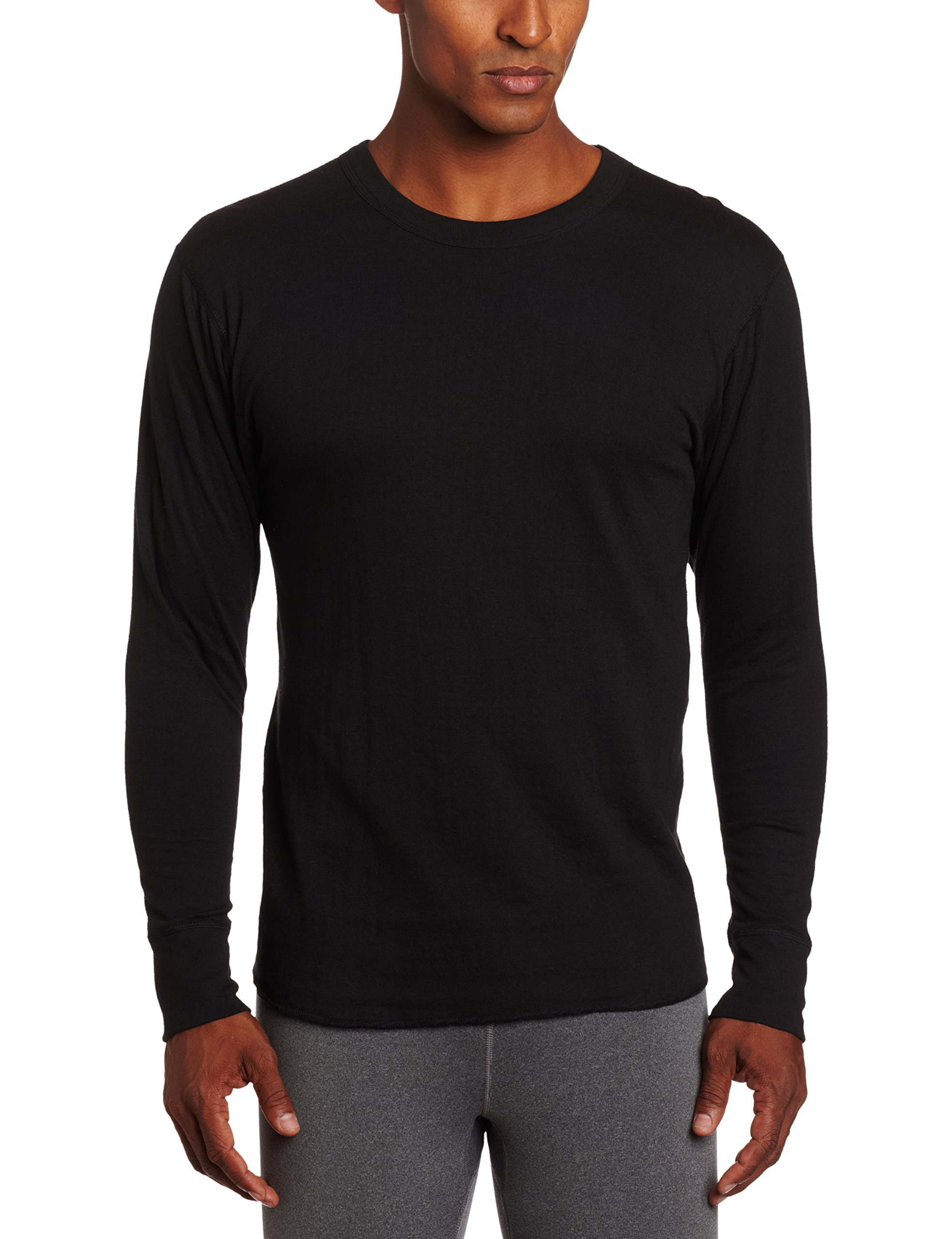 Duofold Men's Mid Weight Wicking Crew Neck Top, Black, Large by Duofold