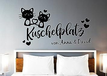 tjapalo® s-pkm350 Wandtattoo Schlafzimmer namen Wandtattoo liebe  Kuschelplatz mit 2 Namen (B140 x H58 cm)