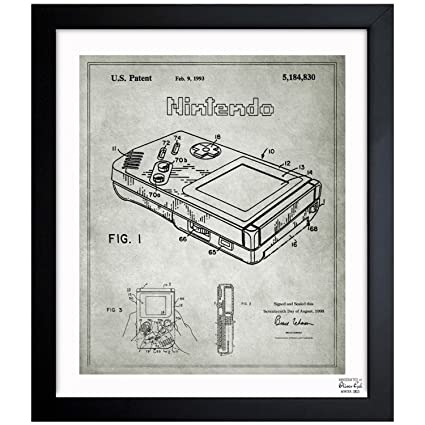 Gameboy, 1993 - Gray Vintage Framed Wall Art Print for Home decor & Office
