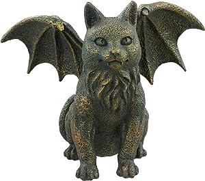Old River Outdoors Winged Cat Gargoyle Guardian Statue Figurine Art Sculpture - Bronze Verdigris Finish