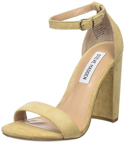 1aa8b07f780 Steve Madden Women s Carrson Sandal Open-Toe Heels Beige (Sand) 7.5 ...