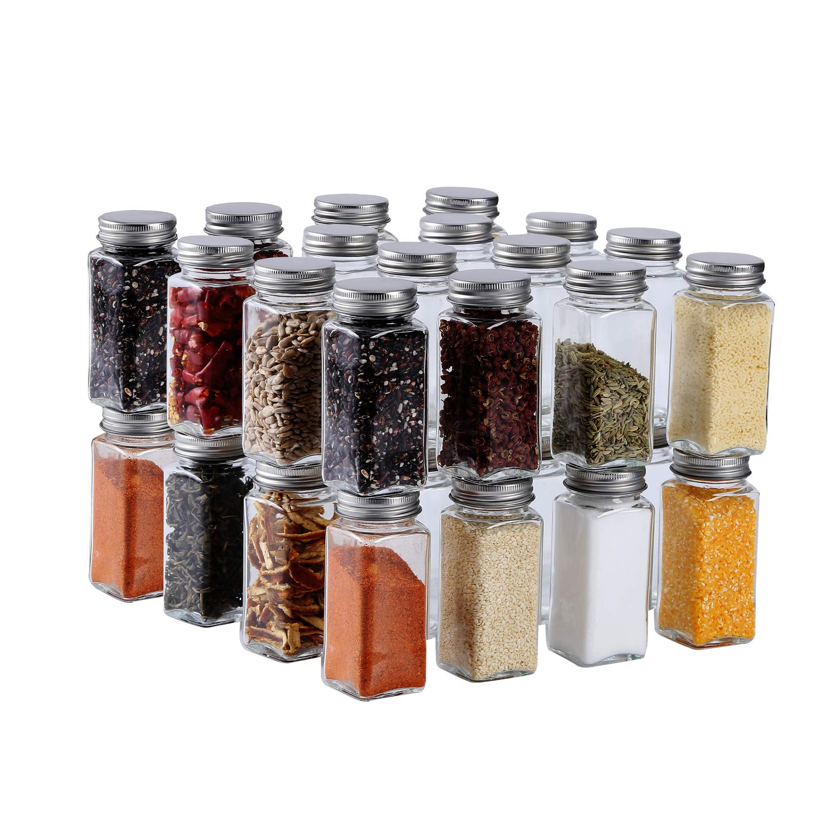 HAIBO 34 Pcs Small Glass Spice Jars(4 oz)Square Spice Containers Bottles Shaker