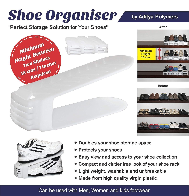 834b5f5d9f2d2b Aditya Polymers 12 Piece Plastic Shoe Organizer, White: Amazon.in: Home &  Kitchen
