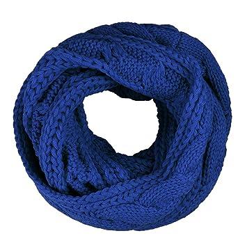 Fletion Unisexe Femmes Hommes Tricot Laine Écharpes hiver chaud épais  foulard boucle Cercle Echarpe tricotée Snood 38cbe42dac4