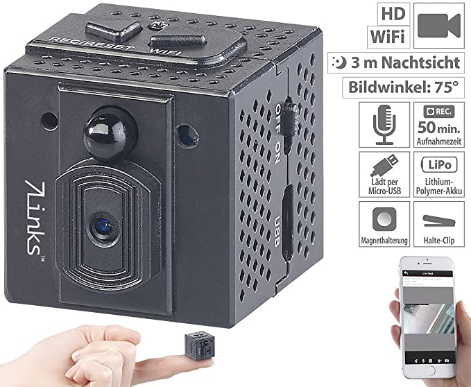 7links Mini Kamera WLAN: HD-Micro-IP-Überwachungskamera mit WLAN, Nachtsicht & App-Zugriff (Mini Überwachungskamera)