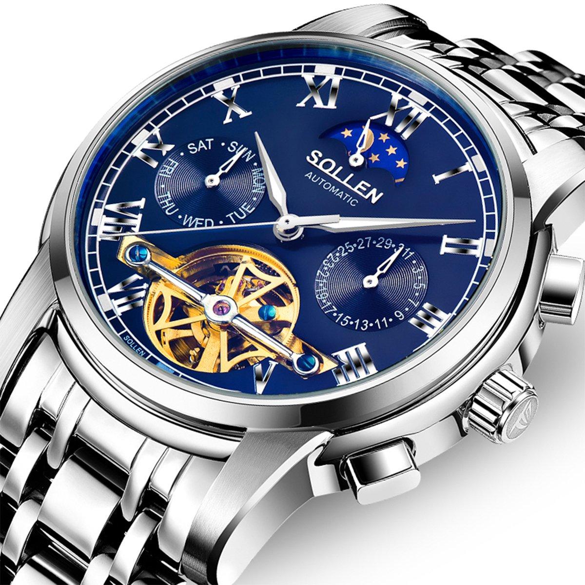 SOLLEN SL-804 Men's Flywheel Automatic Water Resistant Business Wrist Watch with Luminous Hands (Blue)