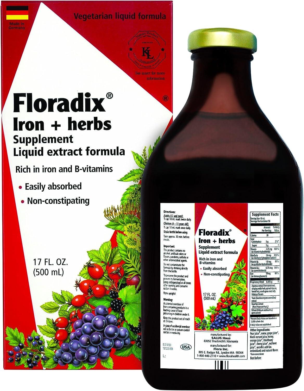 Flora Floradix Iron Herbs Vegetarian Liquid By Salus 17 Fl Oz Health Personal Care