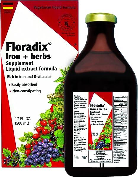 FLORA - Floradix Iron & Herbs, Vegetarian, Liquid, by Salus, 17 Fl Oz