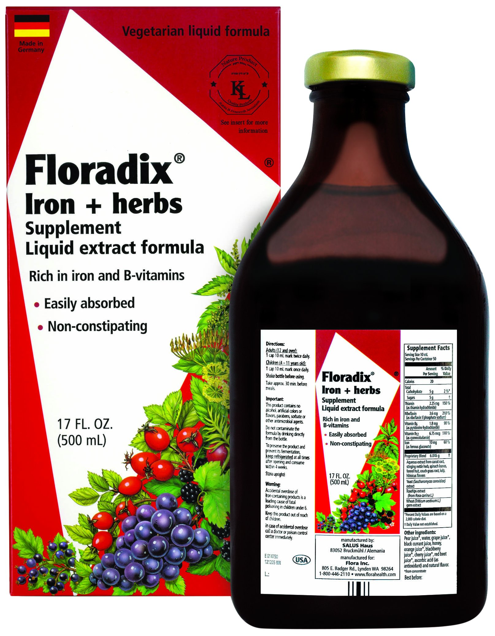 Floradix Liquid Iron Supplement + Herbs 17 Oz Large - All Natural, Vegetarian, Vitamin C, Non Constipating - Supports Energy & Red Blood Cell Production for Women & Men - for Anemia by Flora