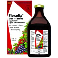 Floradix Liquid Iron Supplement + Herbs 17 Oz Large - All Natural, Vegetarian, Vitamin C, Non Constipating - Supports Energy & Red Blood Cell Production for Women & Men - for Anemia