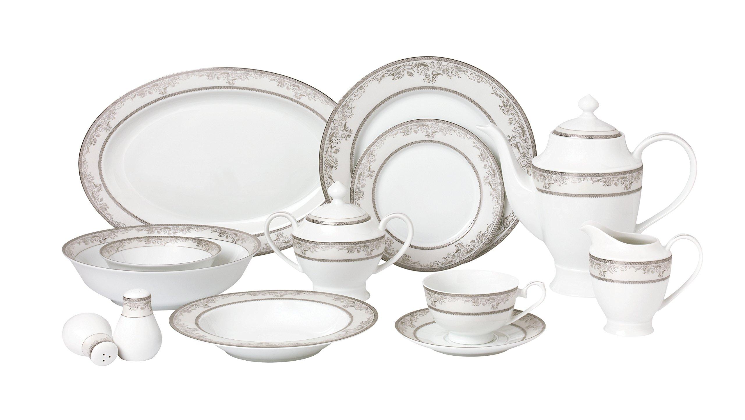 Lorren Home Trends 57 Piece 'Juliette' Bone China Dinnerware Set (Service for 8 People), Silver
