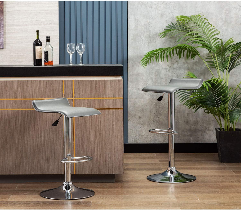 Set of 2 Black NOBPEINT Contemporary Chrome Air Lift Adjustable Swivel Bar Stool