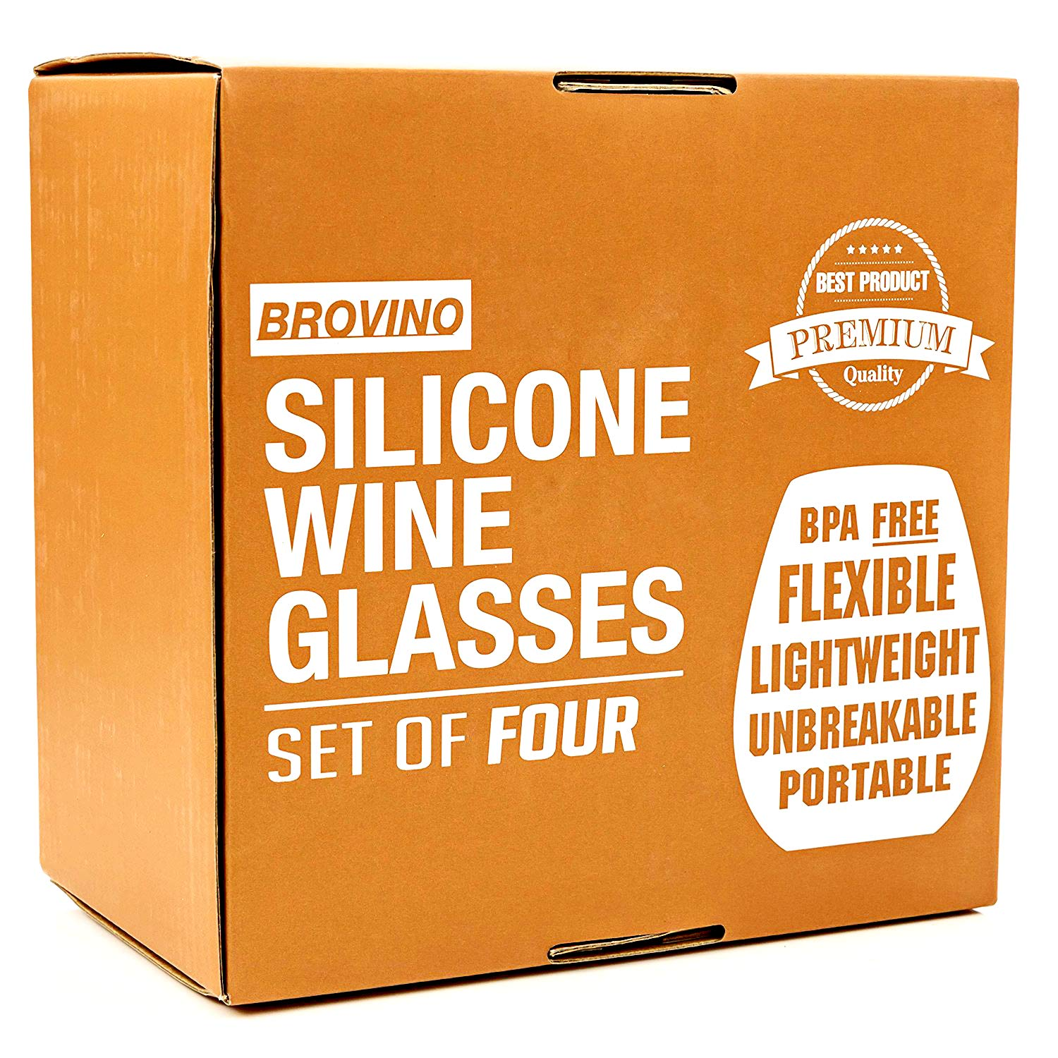 Silicone Wine Glasses - Set of 4 - Unbreakable Outdoor Rubber Wine Cups: 14 oz, Clear Silicone. 100% Dishwasher Safe - Shatterproof Glass for Travel, Outdoor, Picnic, Pool, Boat, Camping by Brovino (Image #7)
