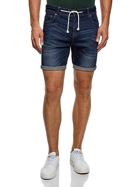 oodji Ultra Hombre Pantalones Cortos Vaqueros con Cordones