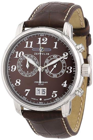 Zeppelin 76843 - Reloj de caballero de cuarzo, correa de piel color marrón