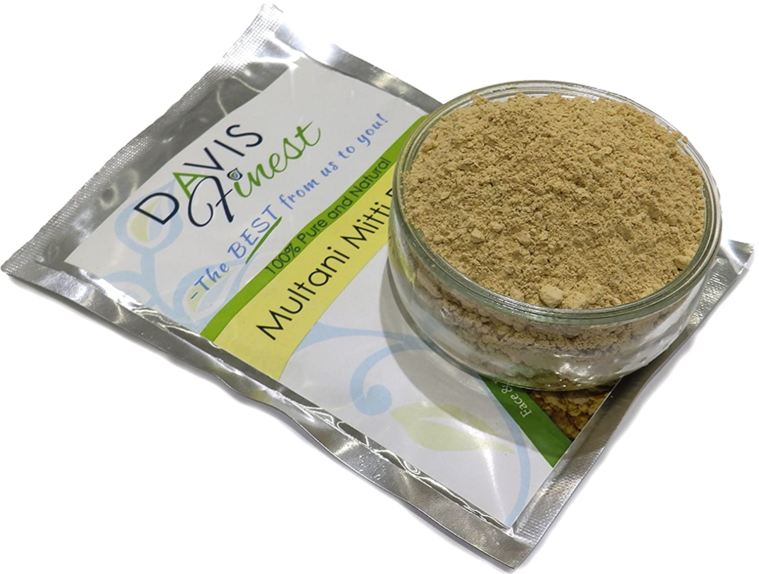 Davis Finest Multani Mitti Powder - Pure Natural Fullers Earth Bentonite Indian Healing Clay Mask for Skincare & Haircare - Smooth Skin Brightener Complexion Rescue (100g) DFSHHP0003