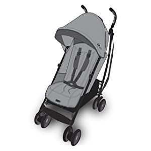 Summer Infant 3Dlite+ Convenience Stroller, Granite Herringbone  – Lightweight Umbrella Stroller with Oversized Canopy, Extra-Large Storage and Compact Fold
