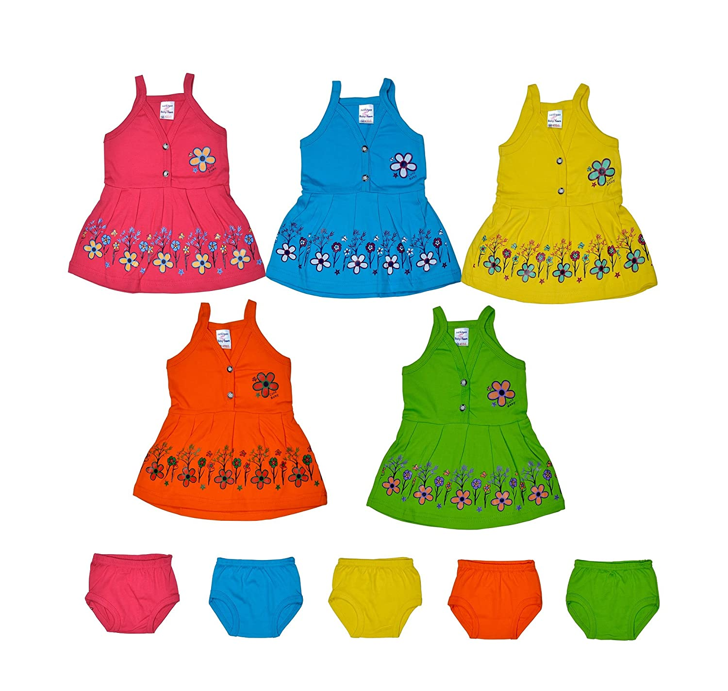 da5a848610c34 Sathiyas Baby Girls A-Line Cotton Dresses (Multicolor) (Pack of 5 Sets) (0-6  months,…