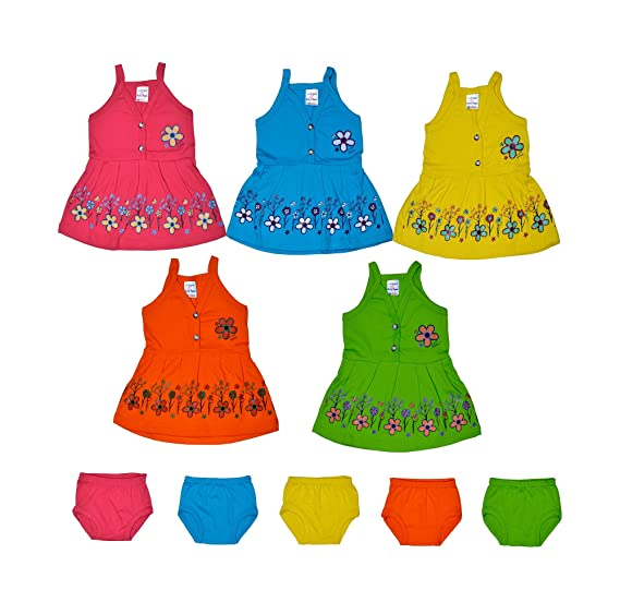 Sathiyas Baby Girls A Line Cotton Dresses Multicolor Pack Of 5